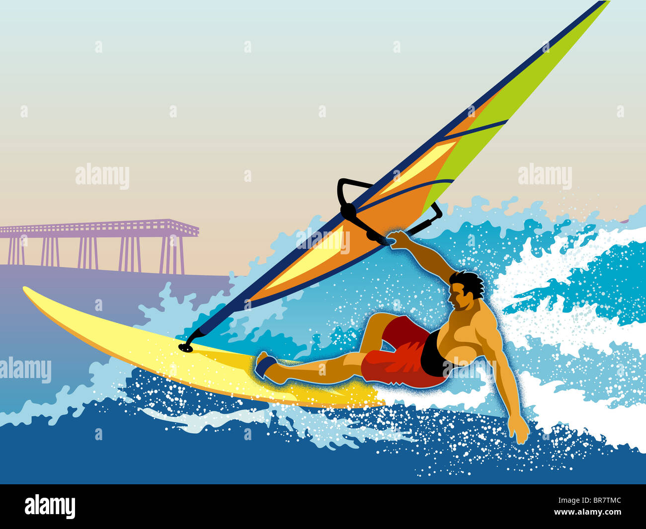 A surfer executing a one handed body drag - Stock Image