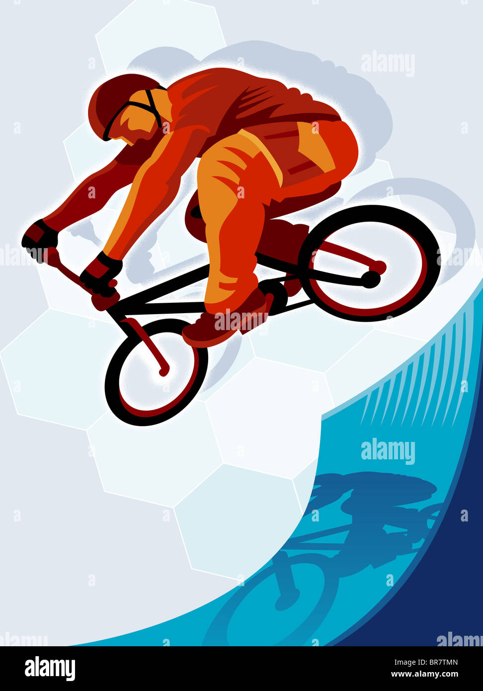 A man executing bike stunt on the vert - Stock Image