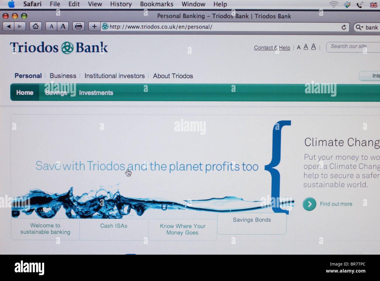 Triodos Bank website screenshot - Stock Image