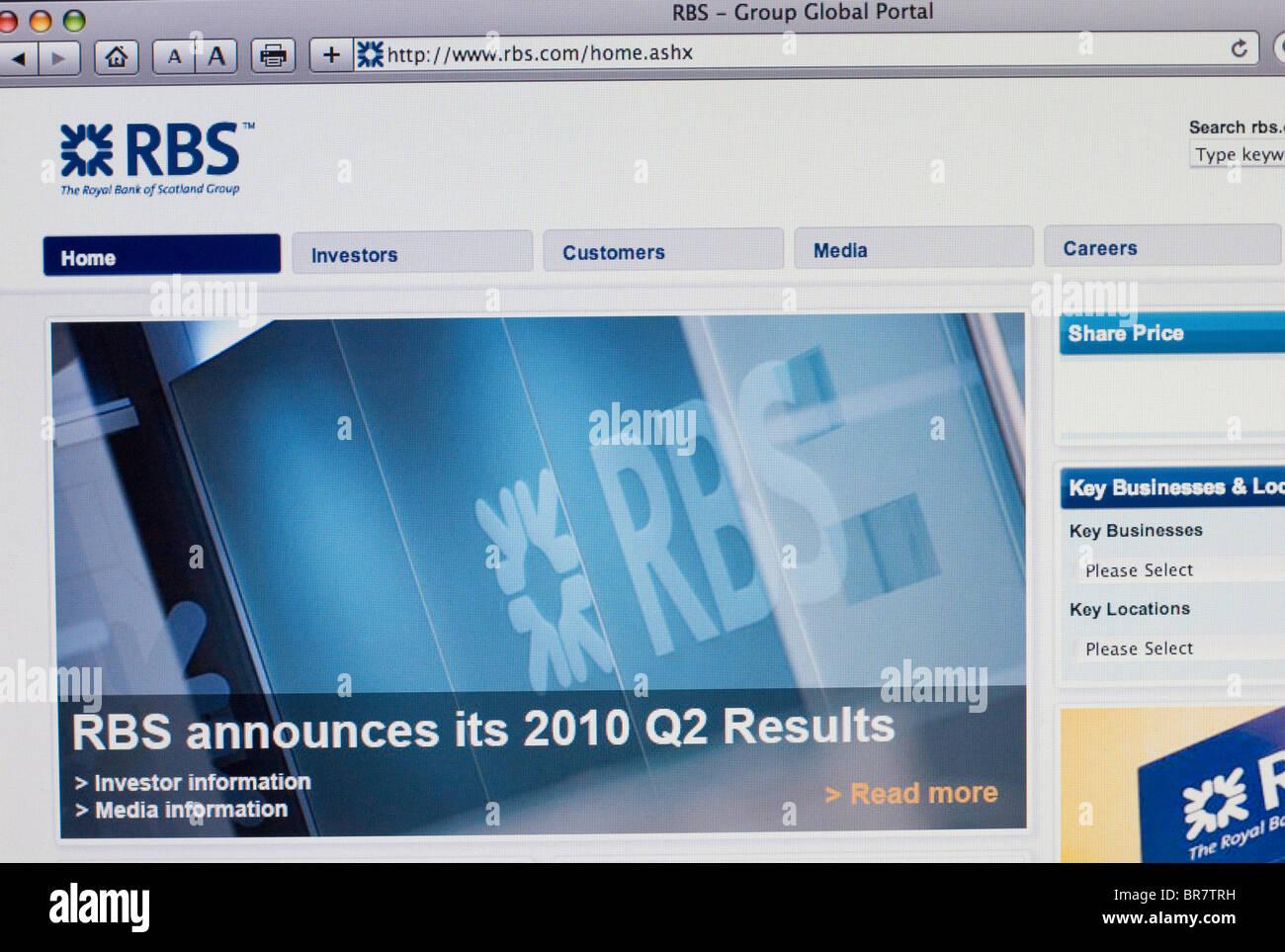Royal Bank of Scotland website screenshot - Stock Image
