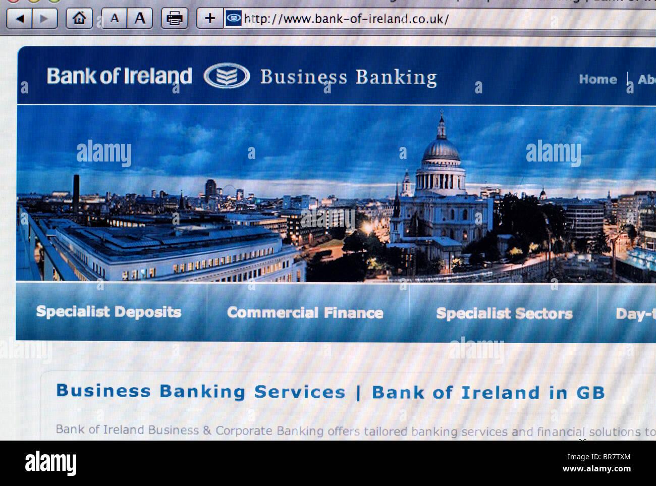 Bank of Ireland website screenshot - Stock Image