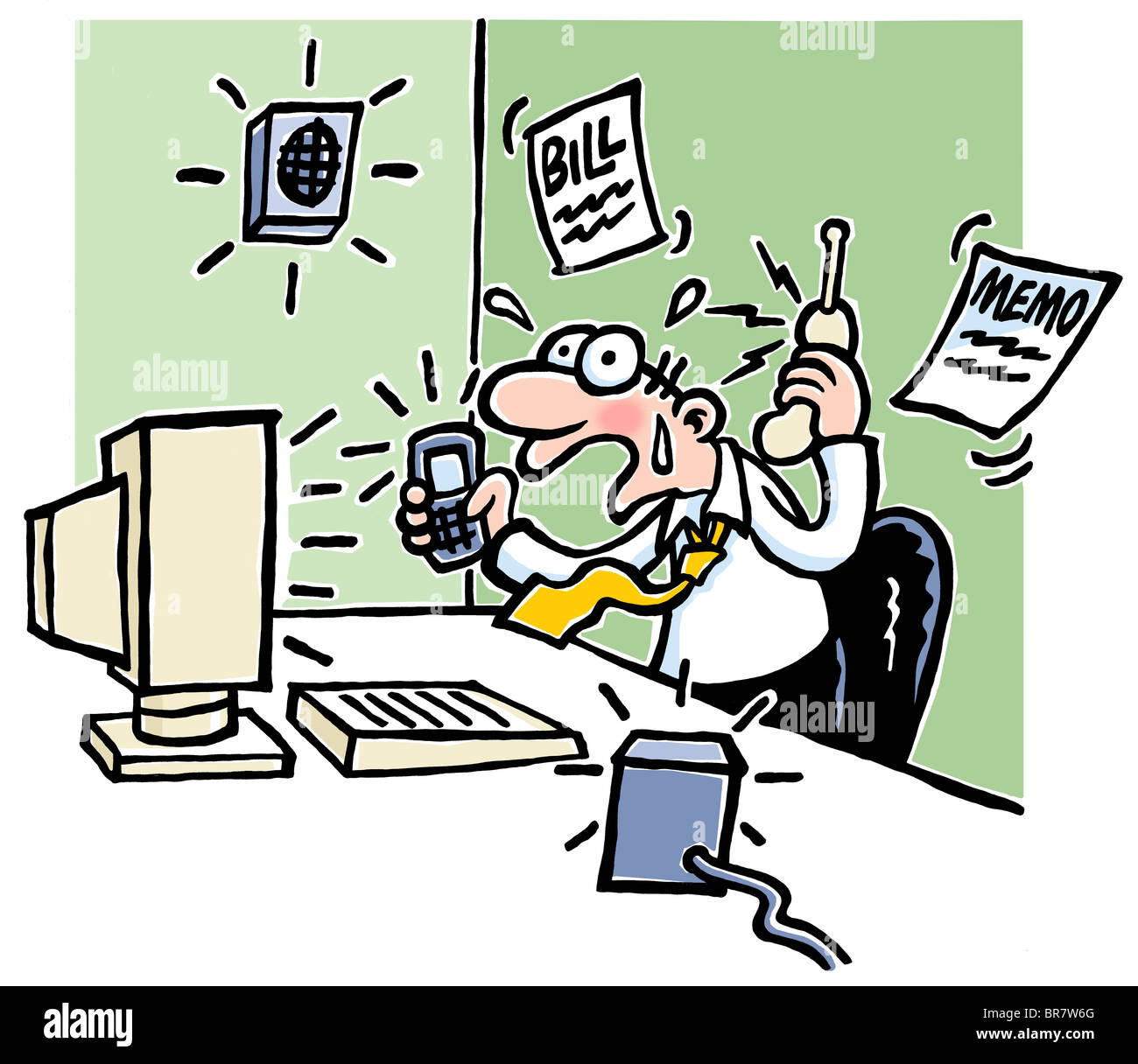 Cartoon Of Businessman Sitting At A Work Desk Looking Stressed And