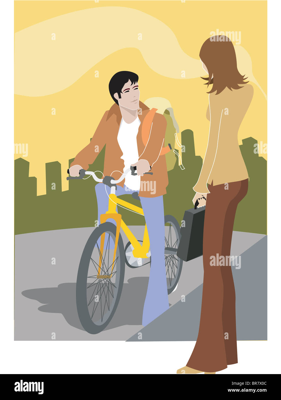 A woman talking to a man on a bike - Stock Image