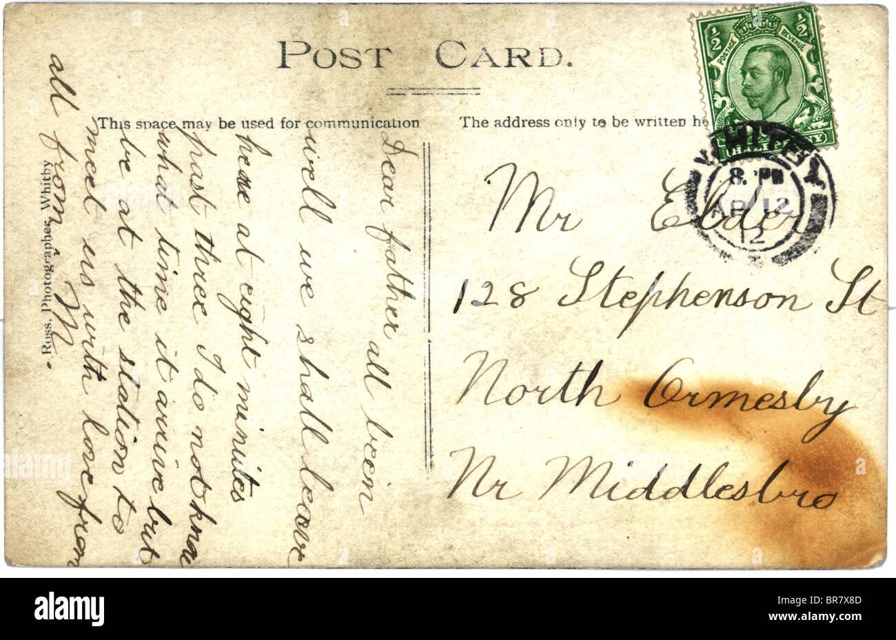 Vintage Postcard With Script Writing UK