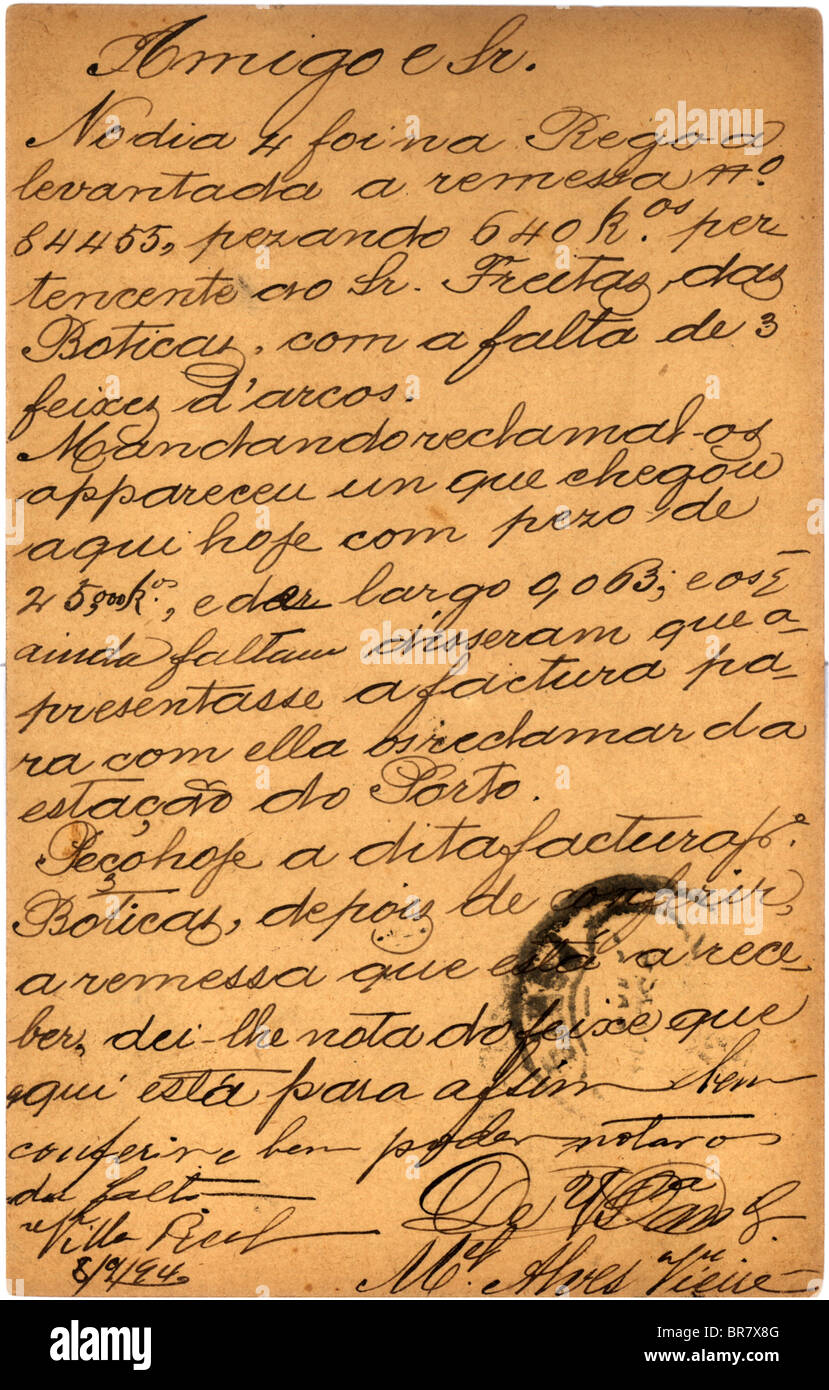 vintage postcard with script writing spanish letter stock image