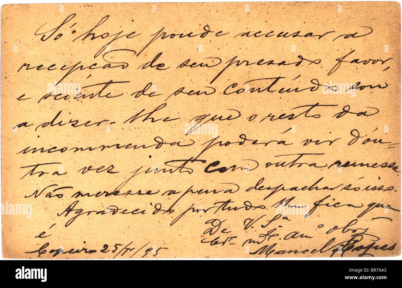 Vintage postcard with script writing, 1895 Stock Photo: 31521787 - Alamy