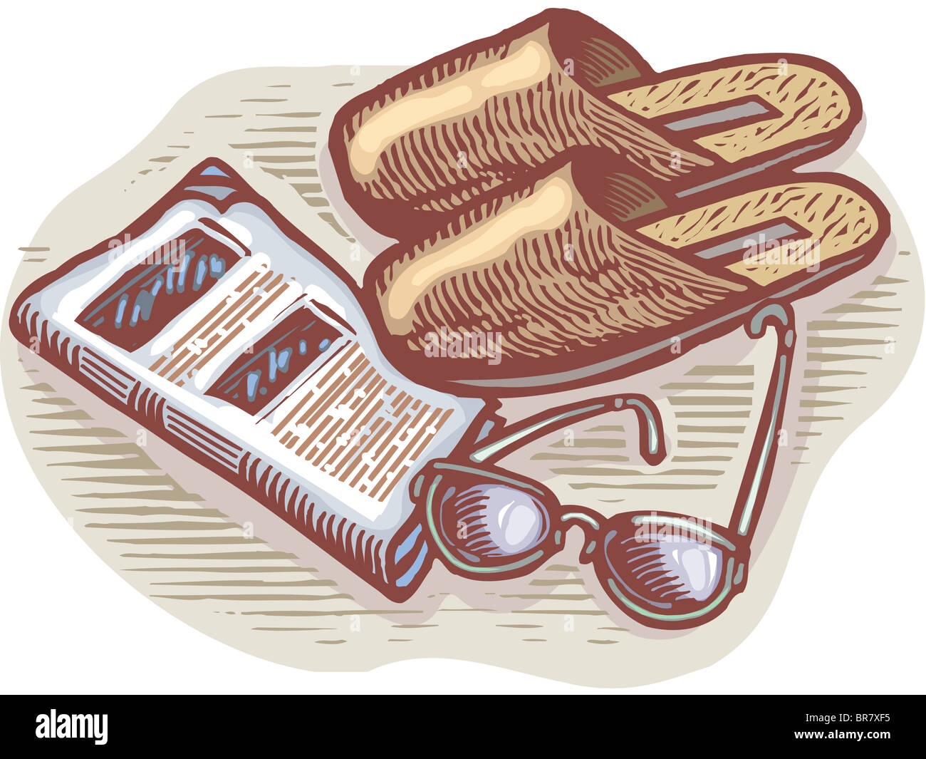 An illustration of slippers, glasses, and newspaper - Stock Image