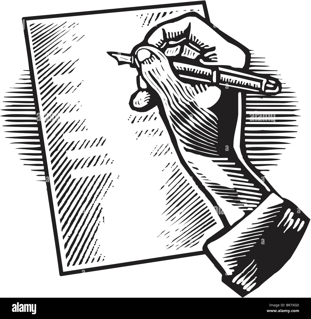 A Person Writing A Letter With A Pen Drawn In Black And White Stock