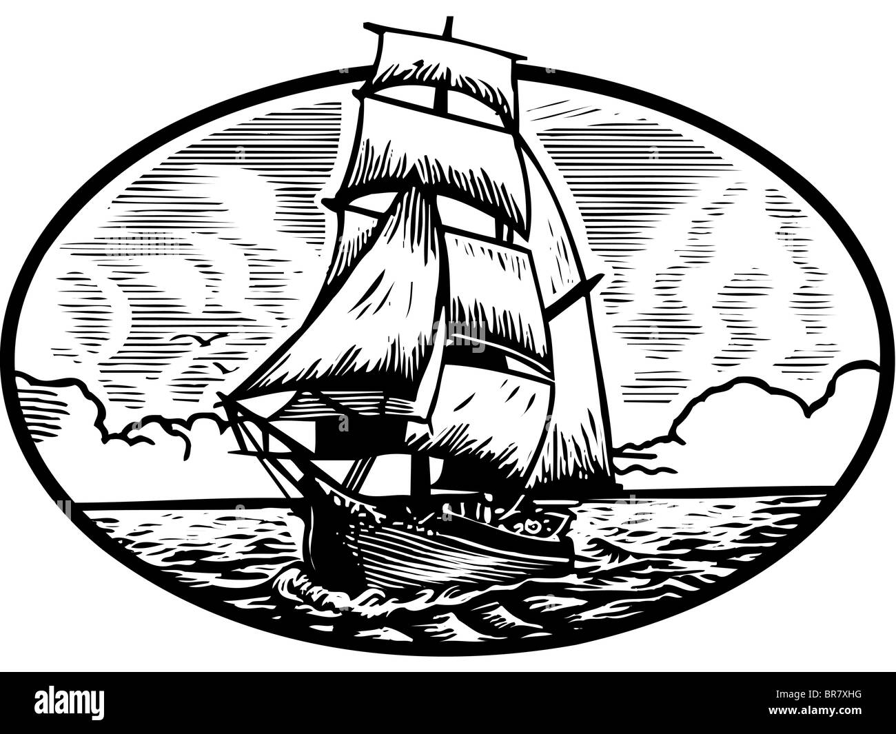 Illustration of a tall ship - Stock Image