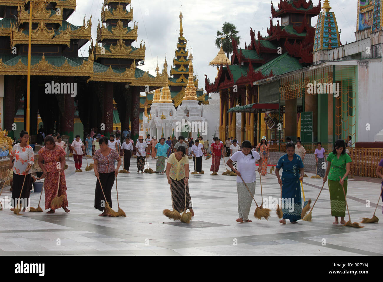 Shwedagon TempleRanggon Myanmar Burma Women Cleaning Stock Photo