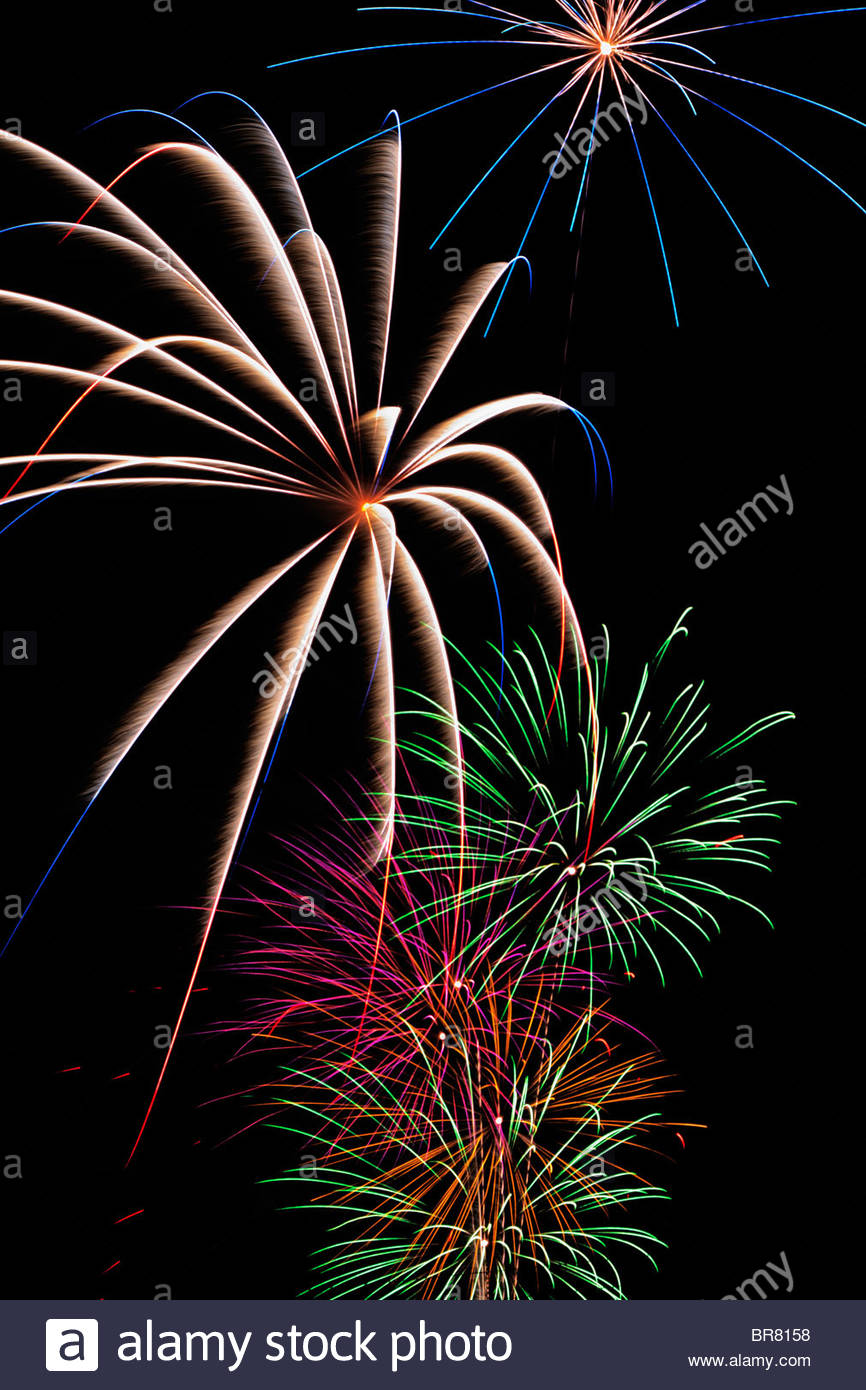 Fourth of July Fireworks - Stock Image