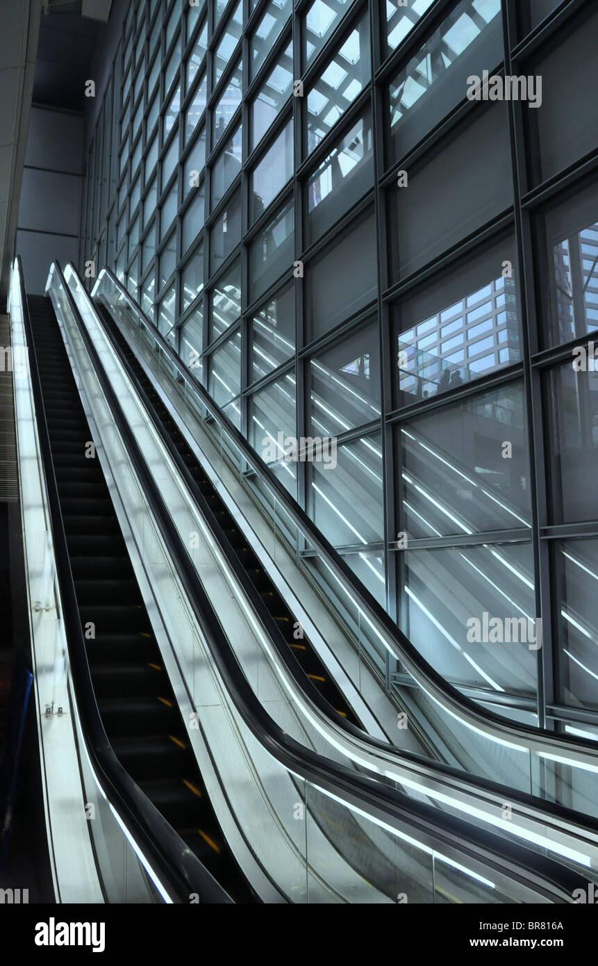 Empty escalator modern office complex - Stock Image