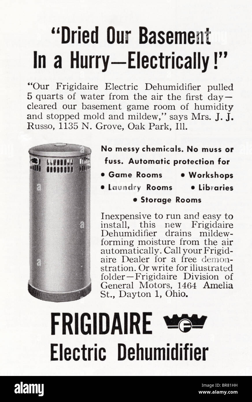Black and white American magazine advert for Frigidaire Electric Dehumidifier circa 1950 - Stock Image