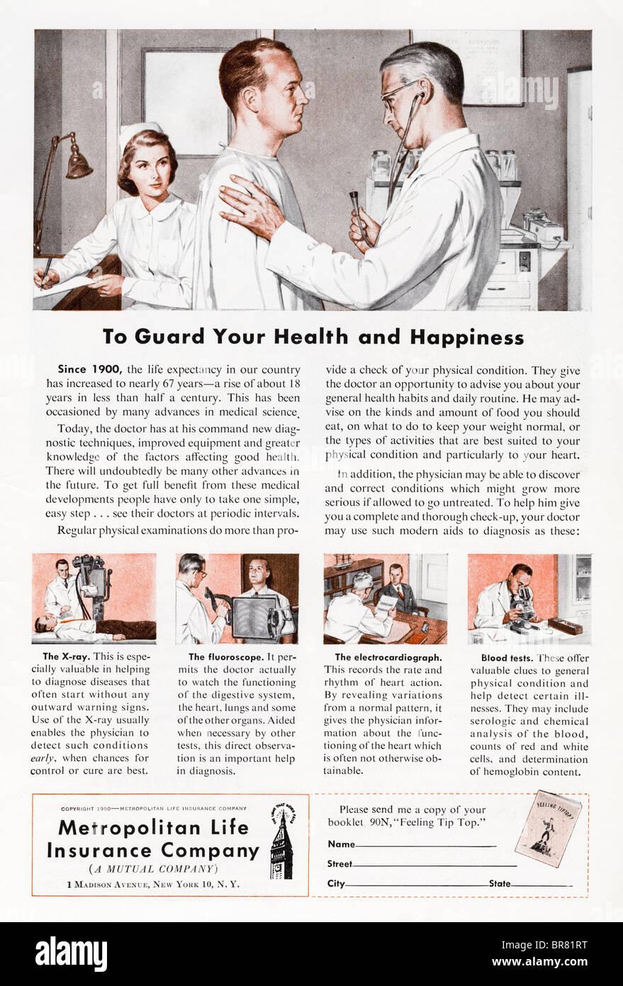 American magazine advert for Metropolitan Life Insurance Company circa 1950 - Stock Image