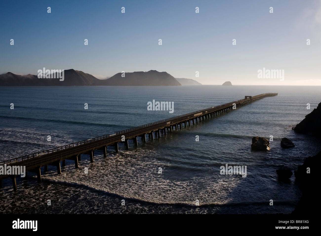 Tolaga Bay wharf on the East Cape, New Zealand. - Stock Image