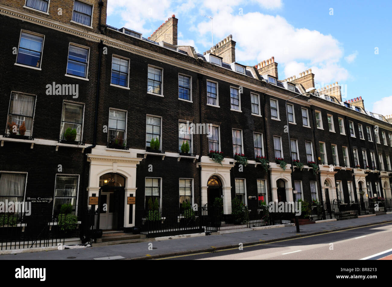 A Terraced Row of Hotels In Gower Street, Bloomsbury, London, England, UK - Stock Image