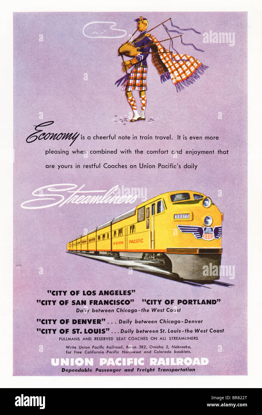 American magazine color advert for Union Pacific Railroad circa 1950 - Stock Image