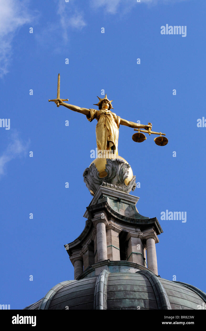 Lady Justice Statue on top of The Central Criminal Court, Old Bailey, London, England, UK - Stock Image