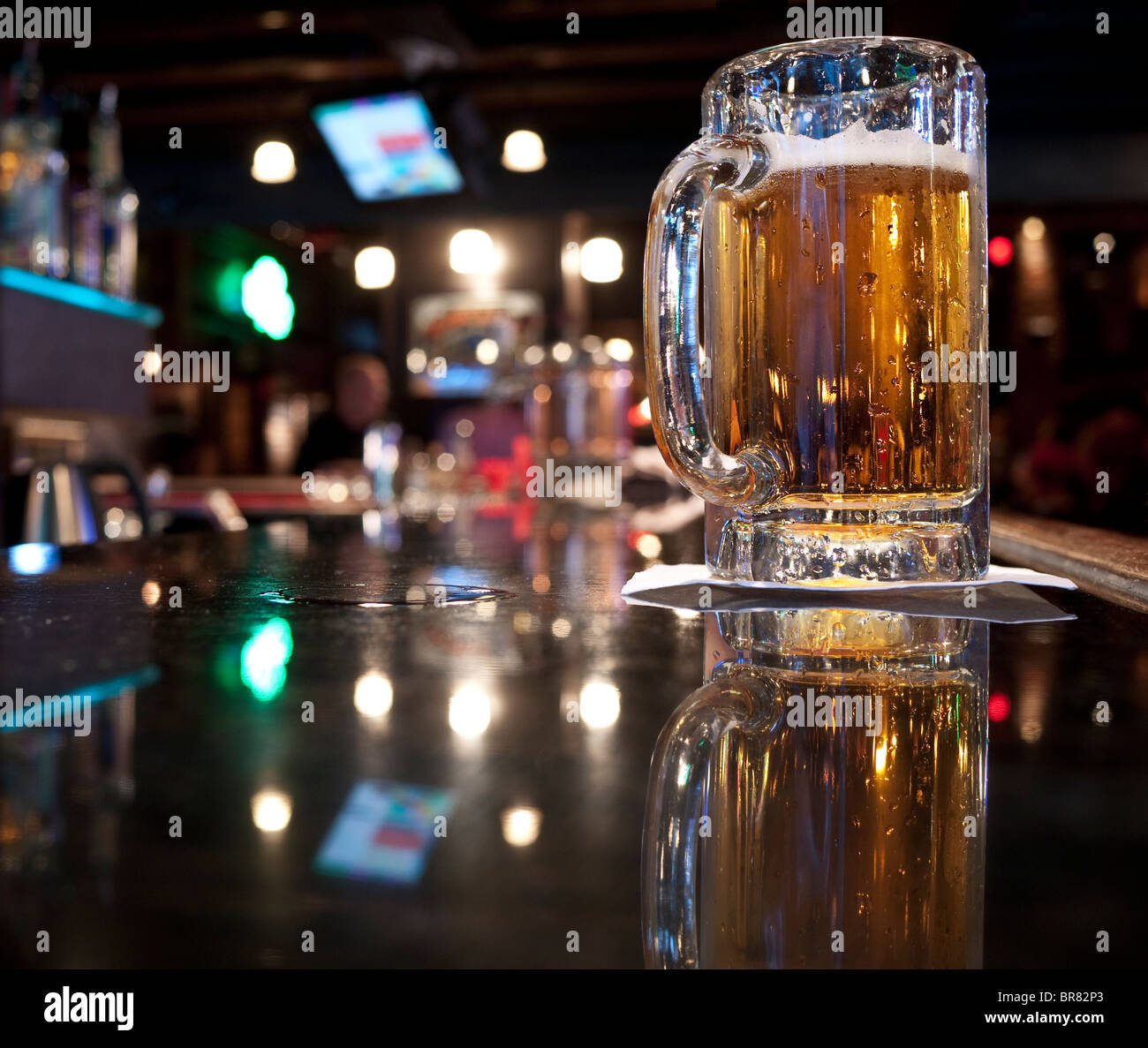 Pint of beer in a pub in Vancouver, Canada - Stock Image