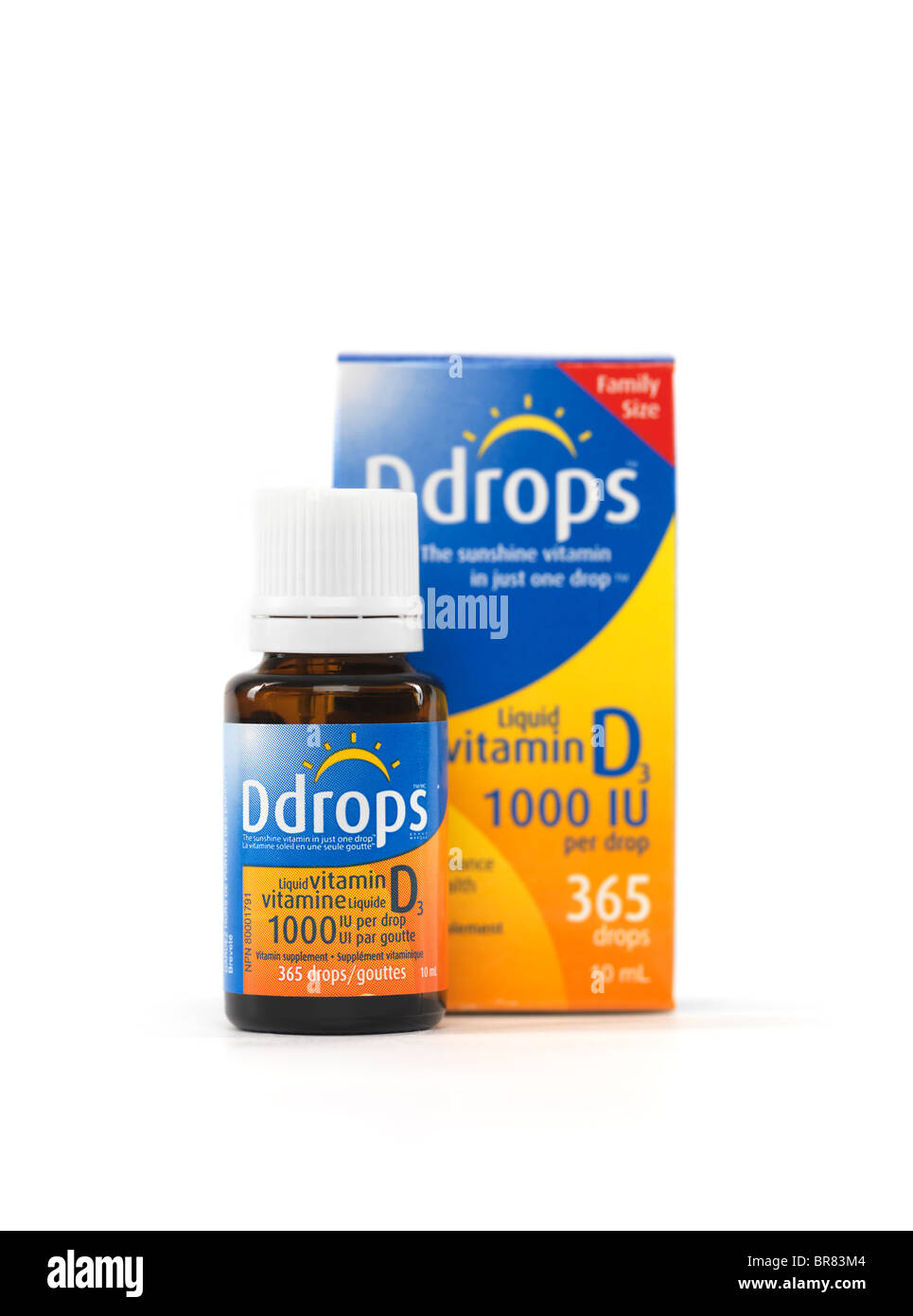 Liquid natural Vitamin D drops Ddrops isolated on white background - Stock Image