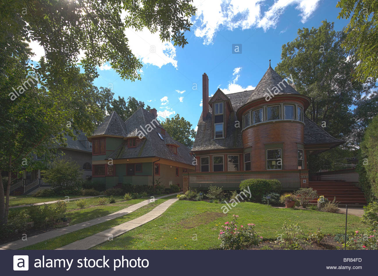 Walter H. Gale House (1893) (right) and Thomas H. Gale House (1892) (left), by Frank Lloyd Wright, Oak Park, Chicago, - Stock Image
