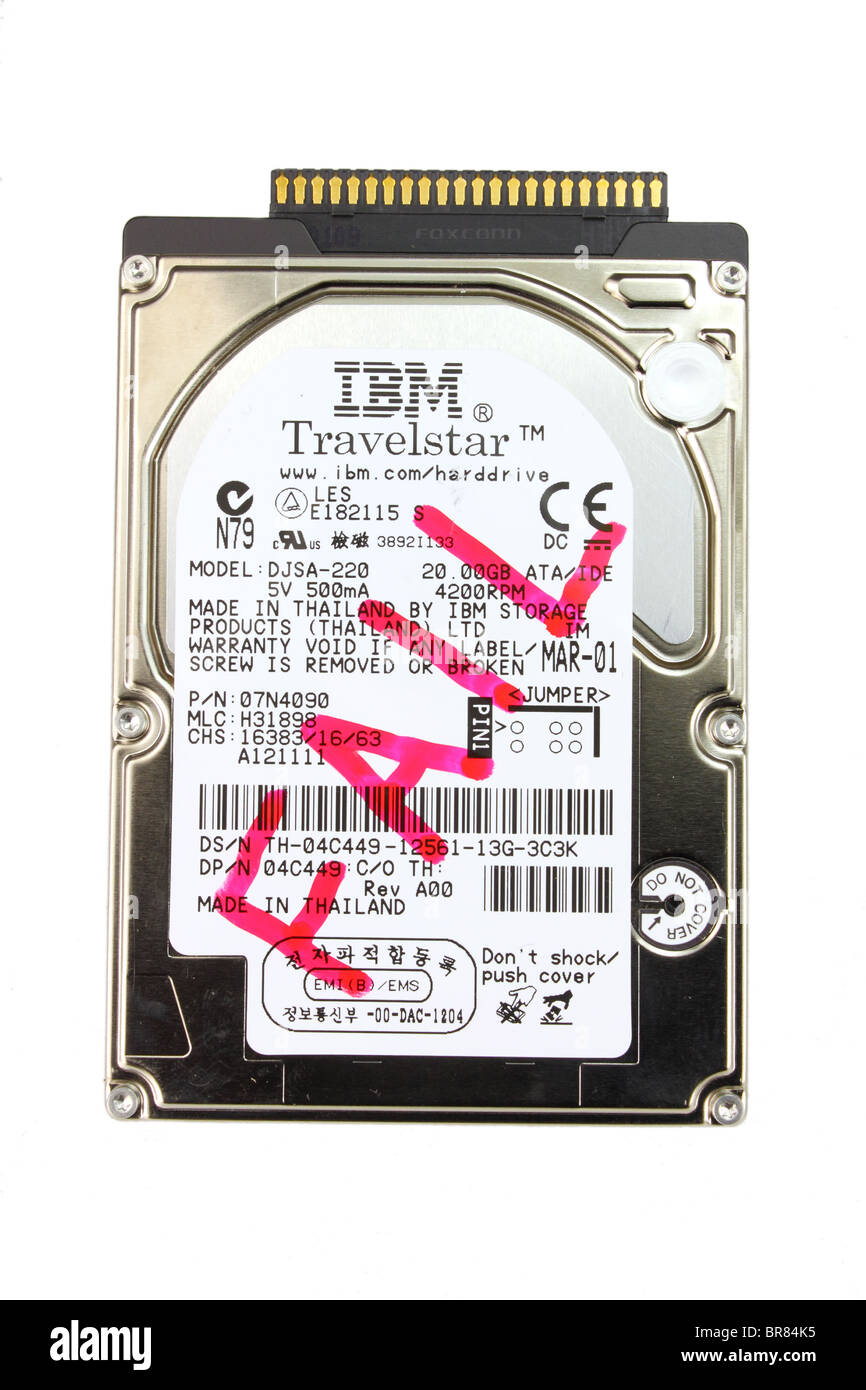 Failed IBM computer hard disc drive - Stock Image