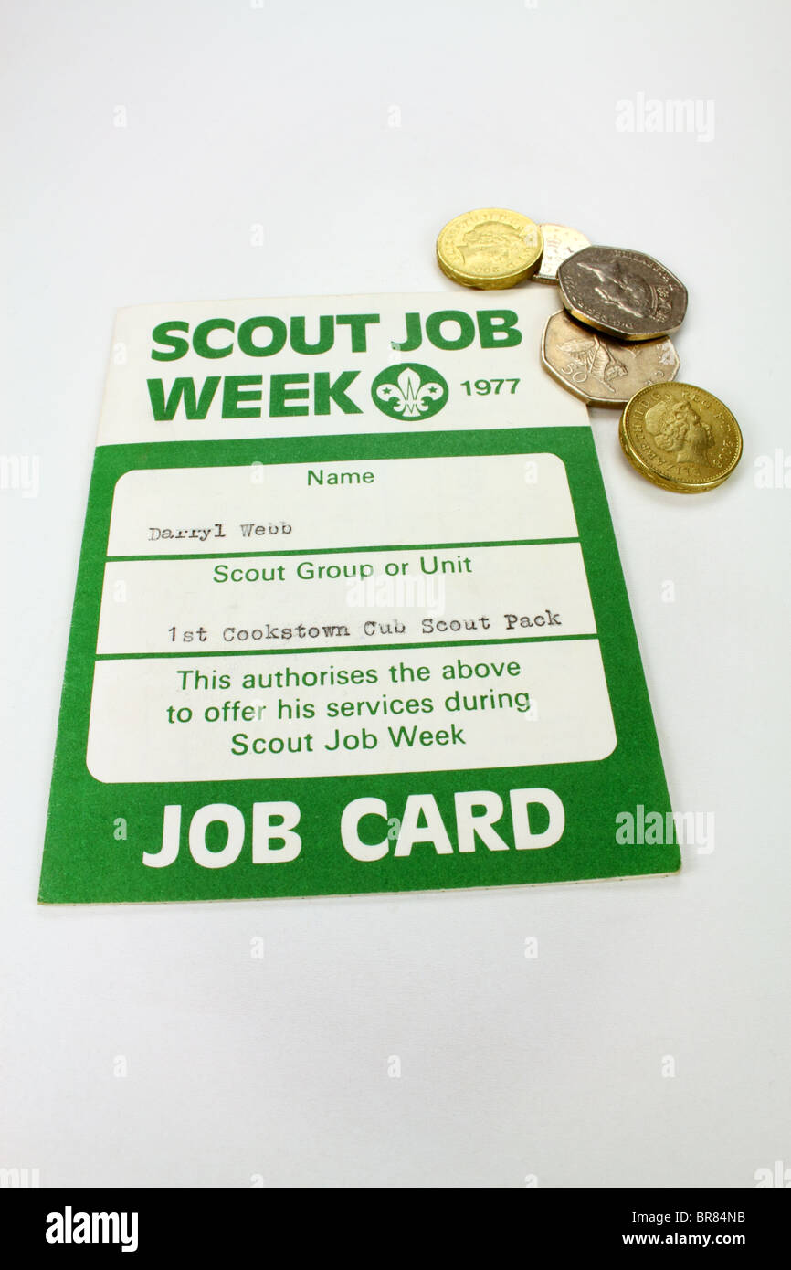 Old Boy Scout Job Card - Stock Image
