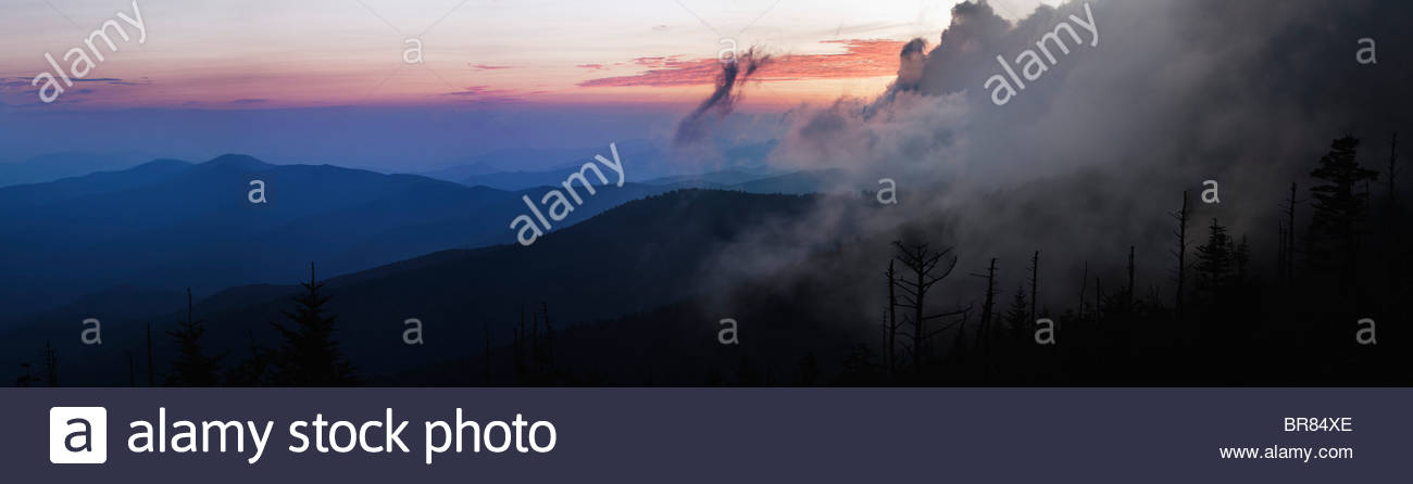 Sunset from Clingmans Dome parking lot, Great Smoky Mountains National Park - Stock Image
