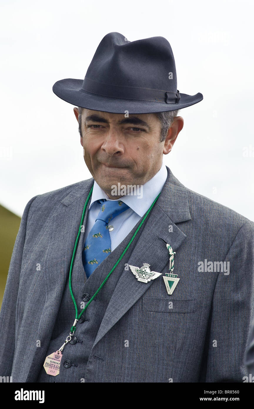 Rowan Atkinson judges the airplane display at The Goodwood Revival 2010, West Sussex 19th September 2010. Picture - Stock Image