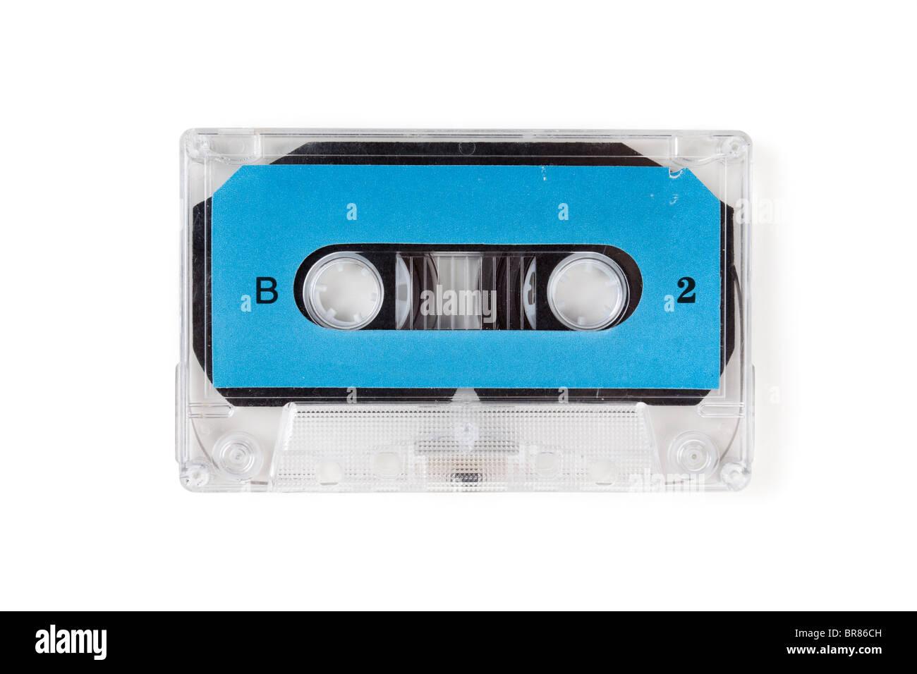 Blue Audio Cassette close up - Stock Image