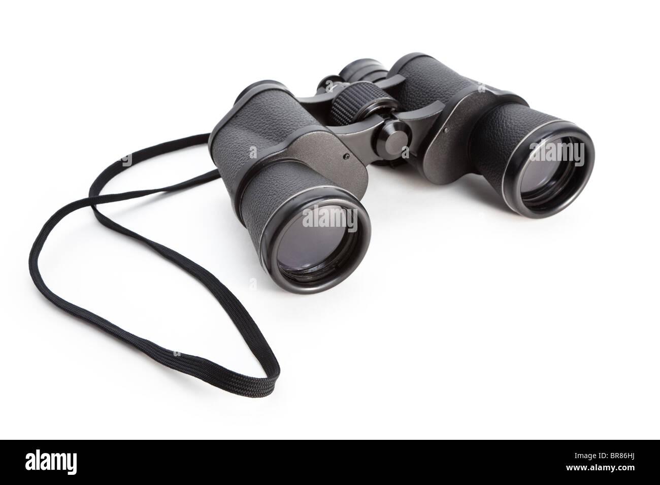 Black Binoculars with white background - Stock Image