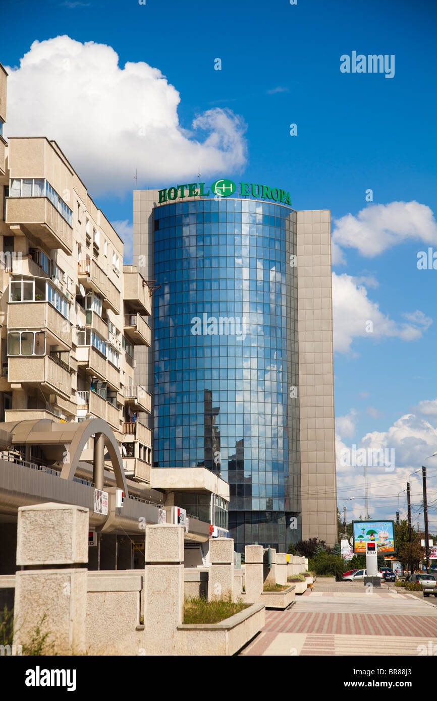Side view of the Europa Hotel in downtown on September 05, 2010 in Iasi, Romania. - Stock Image