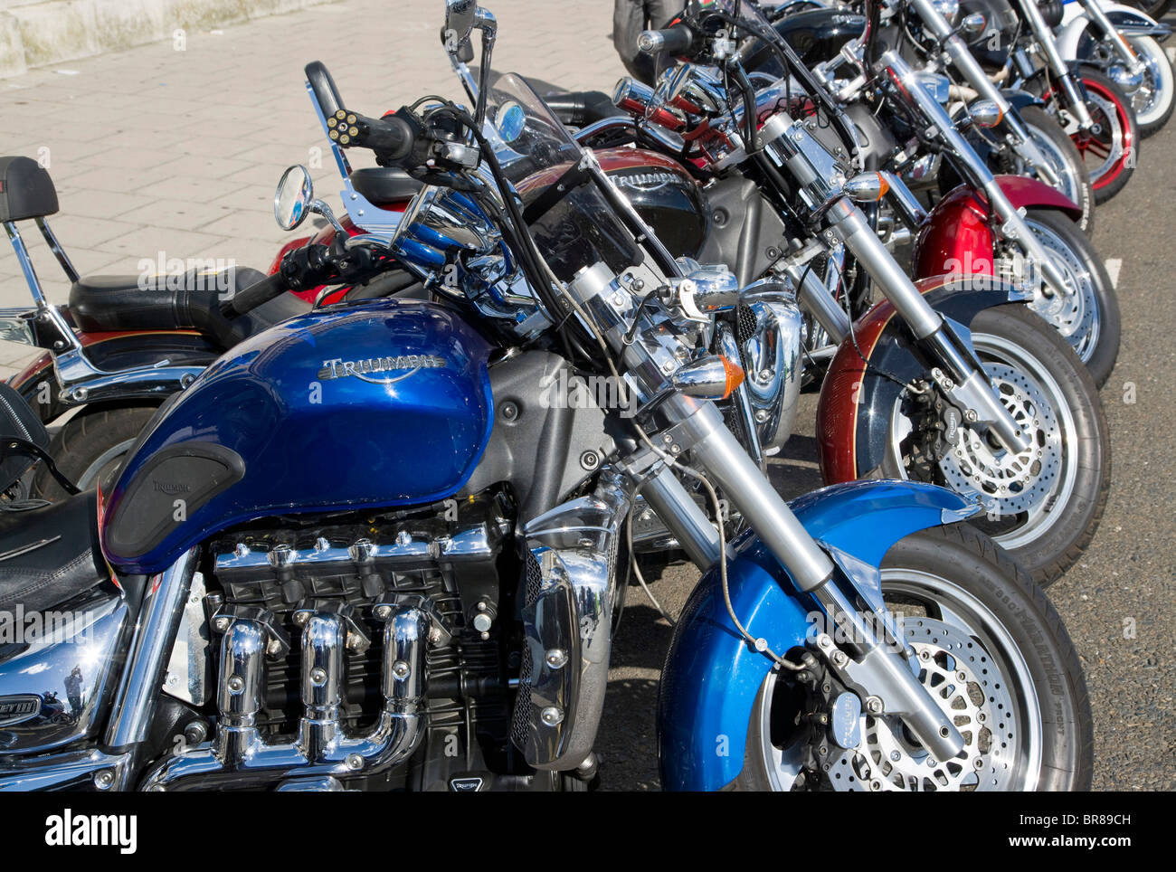 Motorcycles at a Rally in Brighton - Stock Image