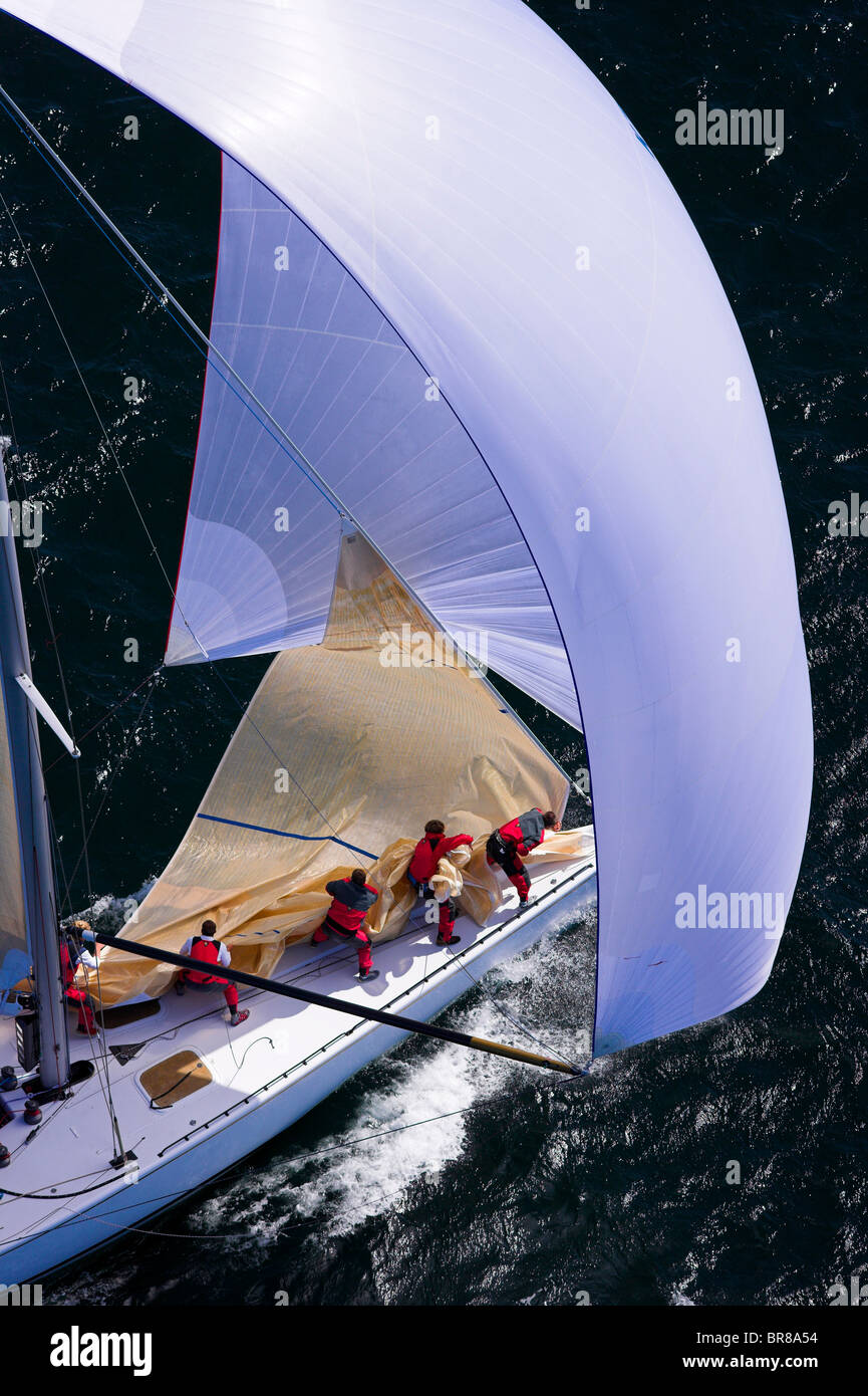 Crew taking down the head sail while sailing downwind under spinnaker in the 2006 12 Metre North American Championships, - Stock Image