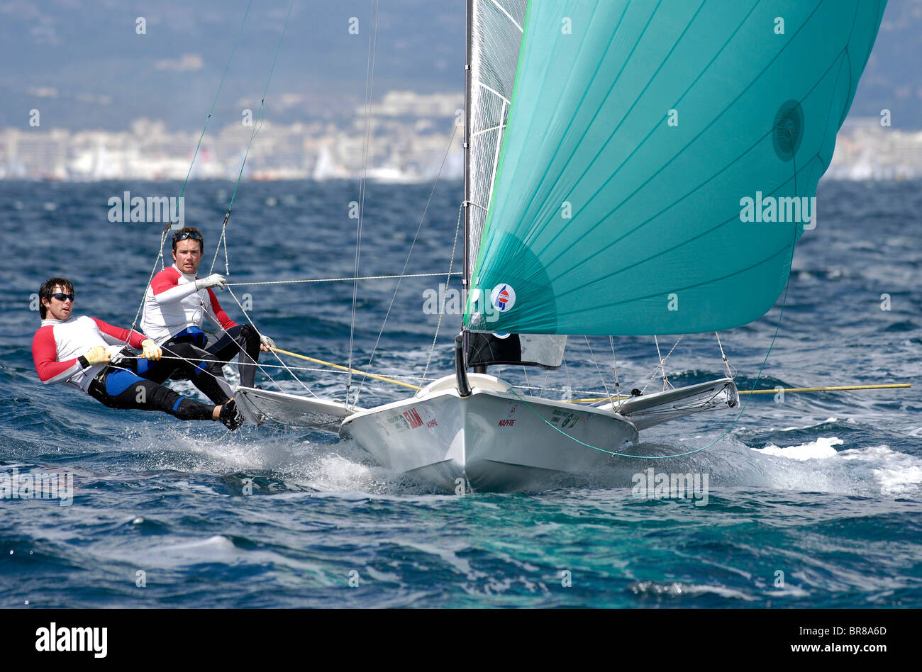49er 'IRL25' with Russell McGovern and Matt McGovern for Ireland during the Princess Sofia Regatta, Olympic - Stock Image