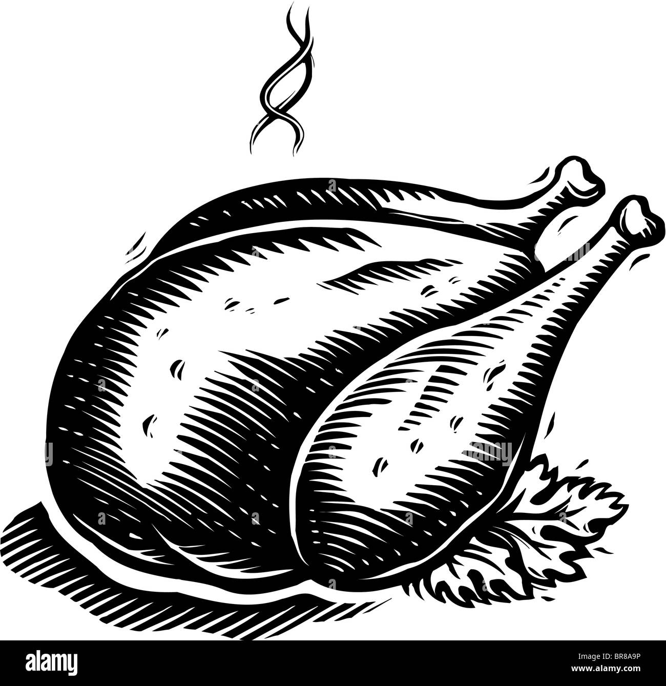 A drawing of a roast turkey ready to be served in black and white Stock Photo