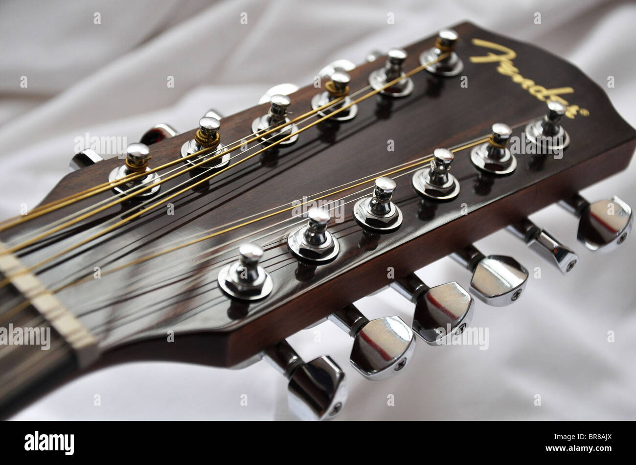 Fender 12 string guitar head and tuning pegs Stock Photo