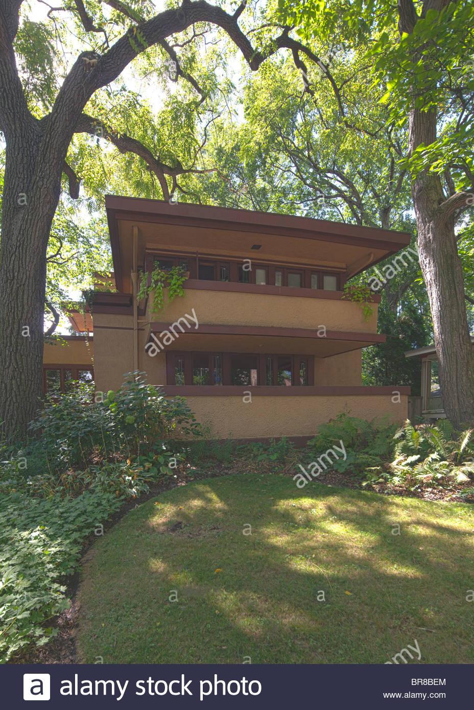 Mrs. Thomas H. Gale House (1909), designed by Frank Lloyd Wright, Oak Park, Chicago, Illinois, USA - Stock Image