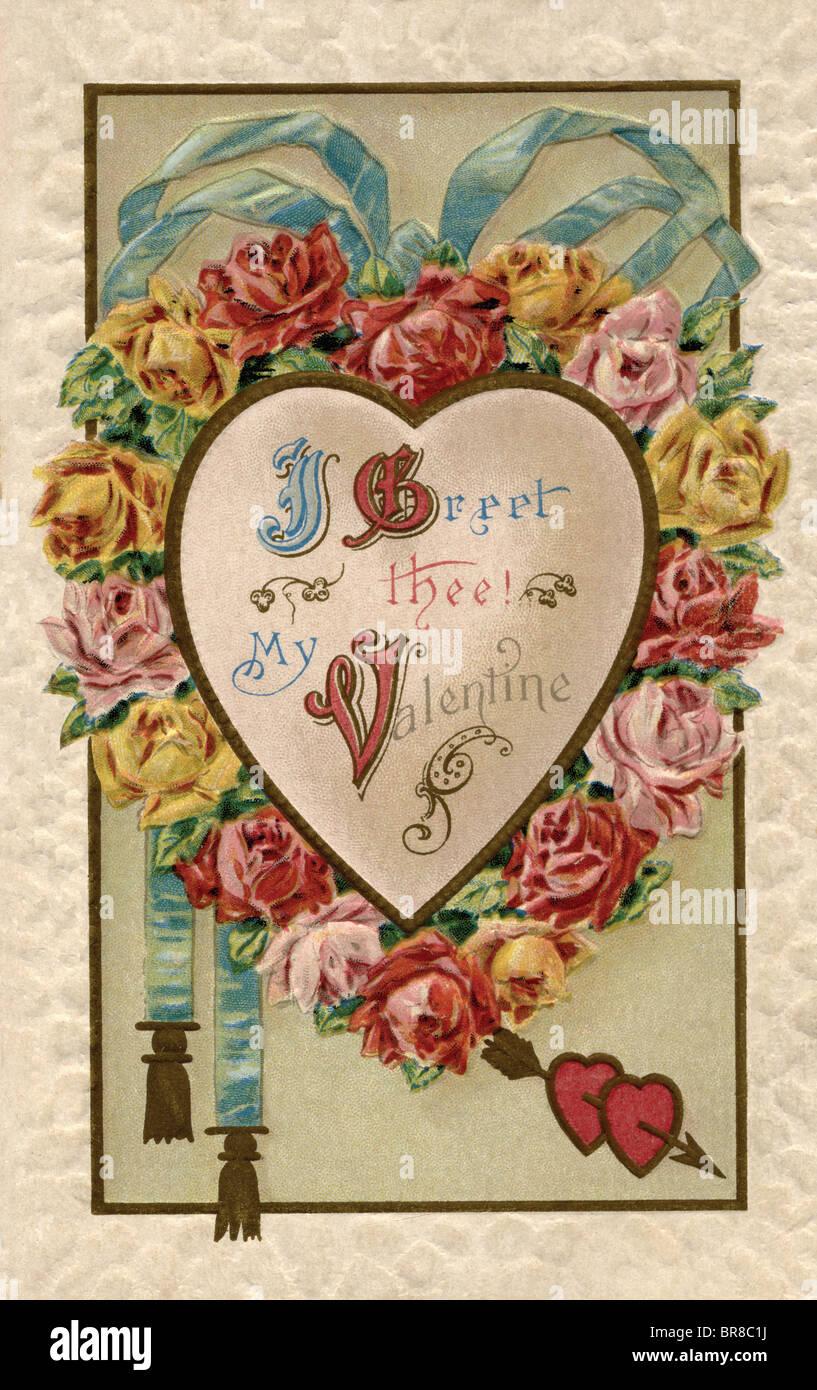 I Greet Thee Valentine postcard - Stock Image