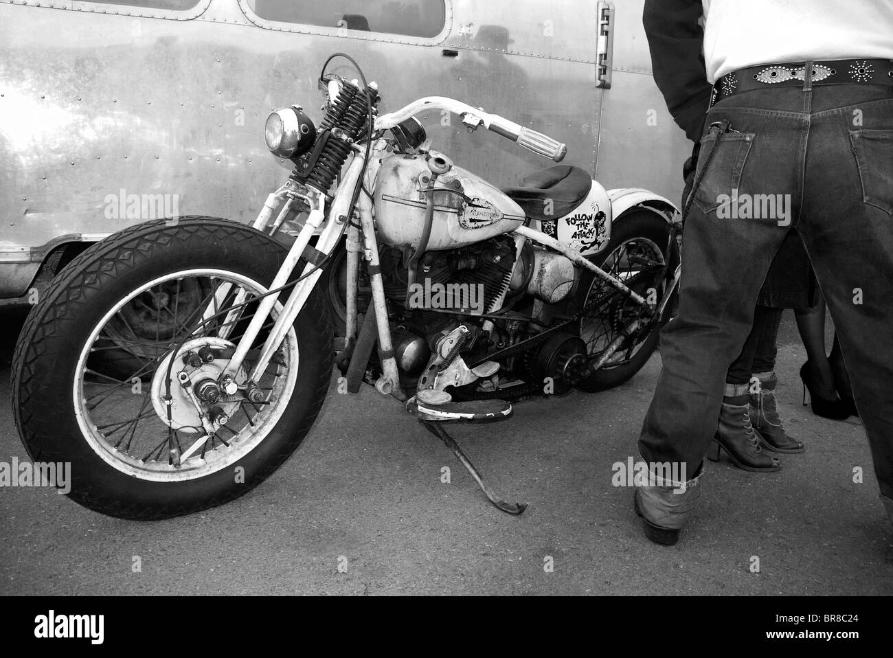Hot Rod Harley >> Biker With Classic Harley Davidson Motorcycle At Ace Cafe