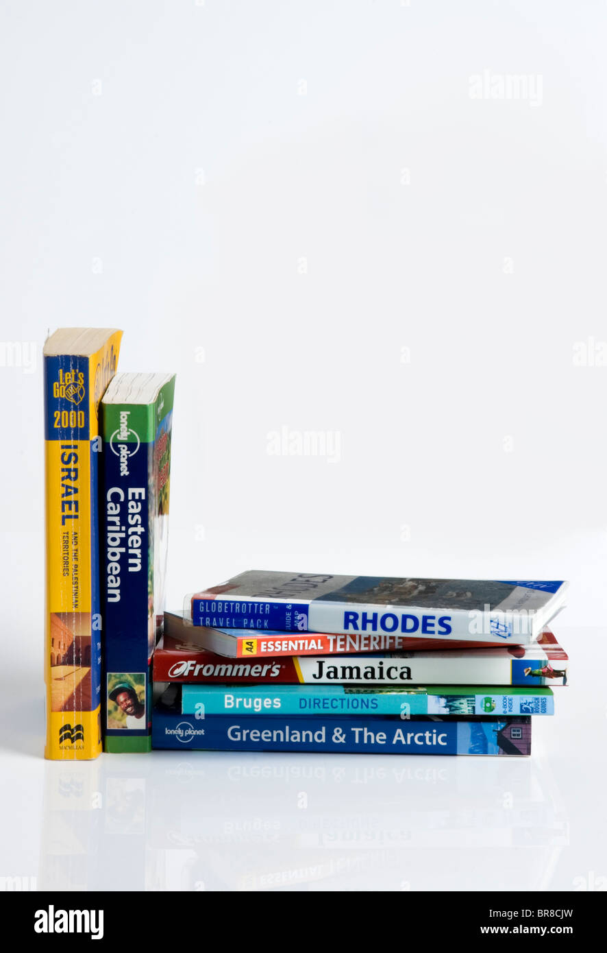 Selection of travel guides. - Stock Image