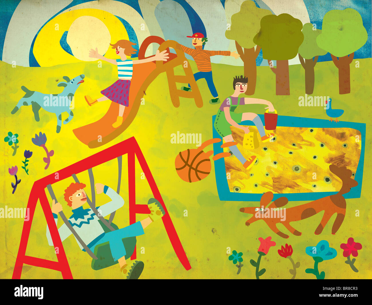 Children playing on a playground with their dogs Stock Photo