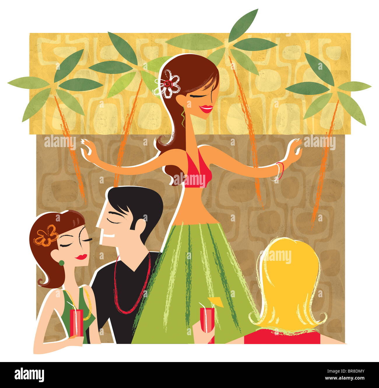 An illustration of a group of people enjoying a hula dancer at a Luau - Stock Image