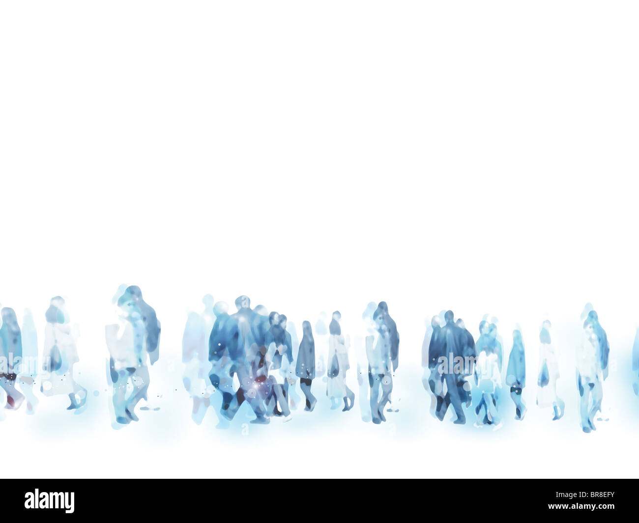 An illustration of urban people marching on the streets - Stock Image