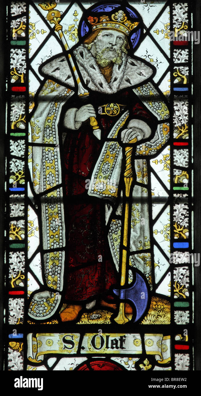 A stained glass window by C E Kemp & Co. depicting Saint Olaf, Poughill Church, Cornwall - Stock Image