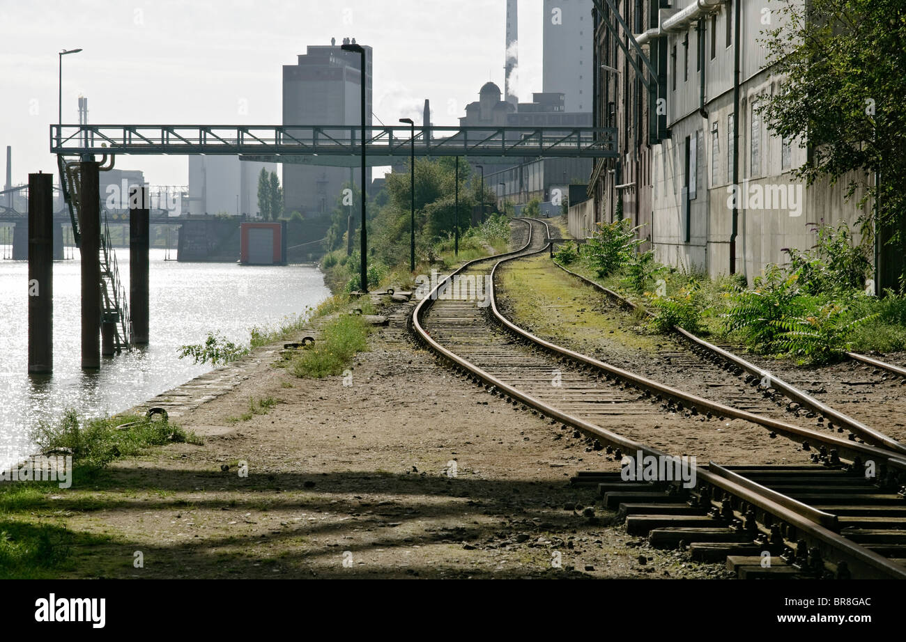 Railway tracks in Krefeld Harbour, NRW, Germany. - Stock Image