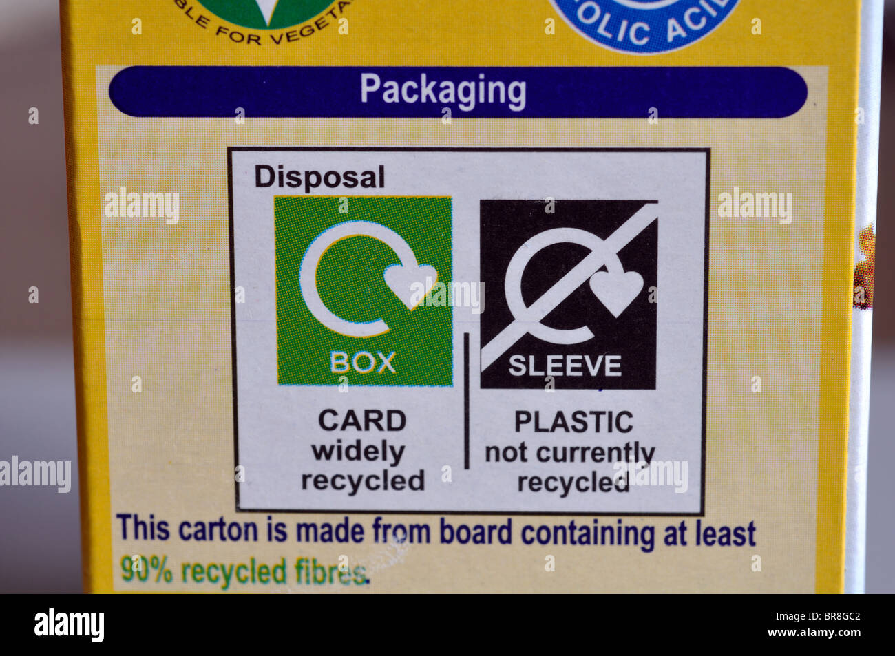 Recycling information on packaging - Stock Image