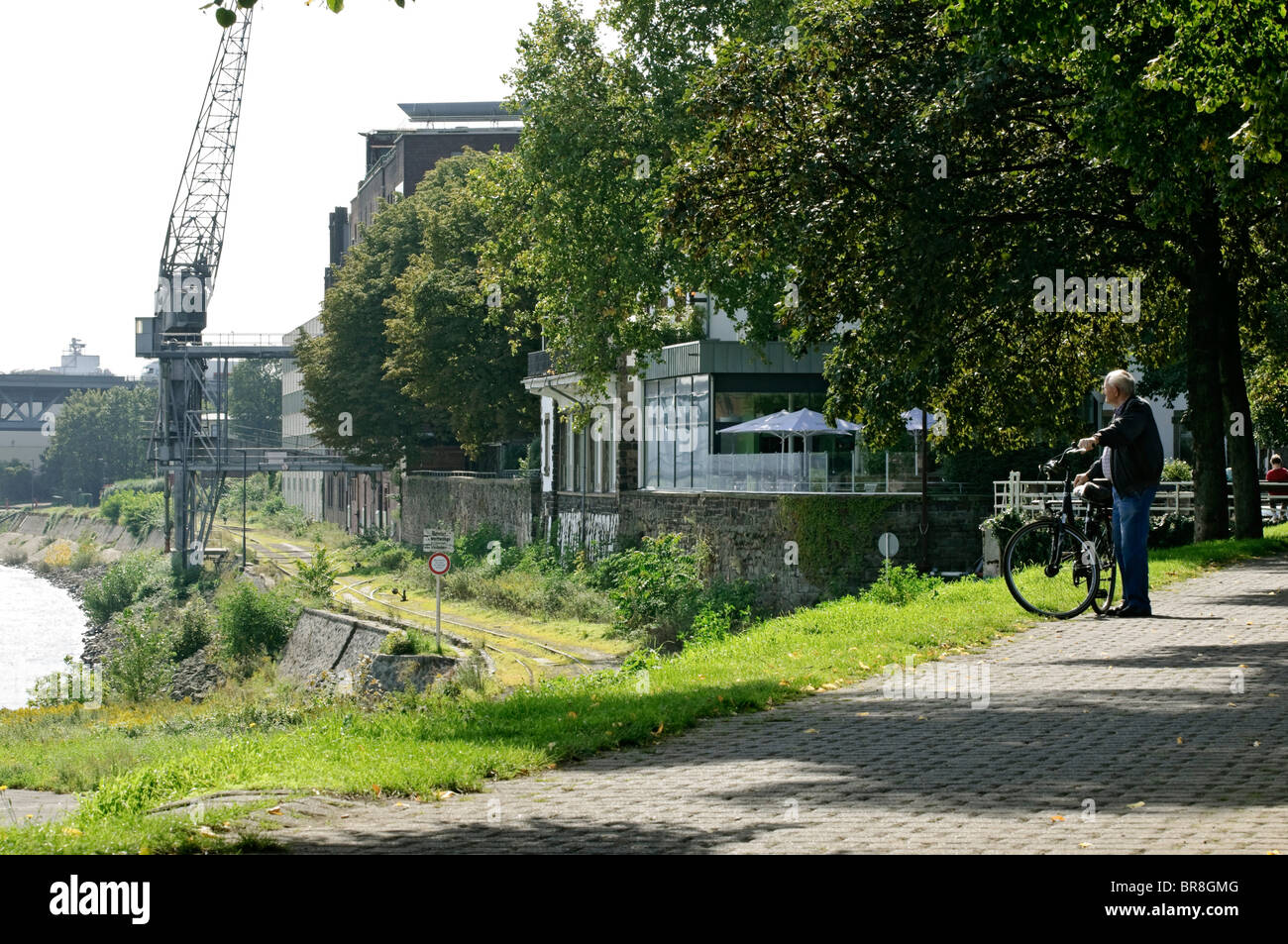 Man with bicycle & overgrown quay at Krefeld Uerdingen, NRW, Germany. Stock Photo