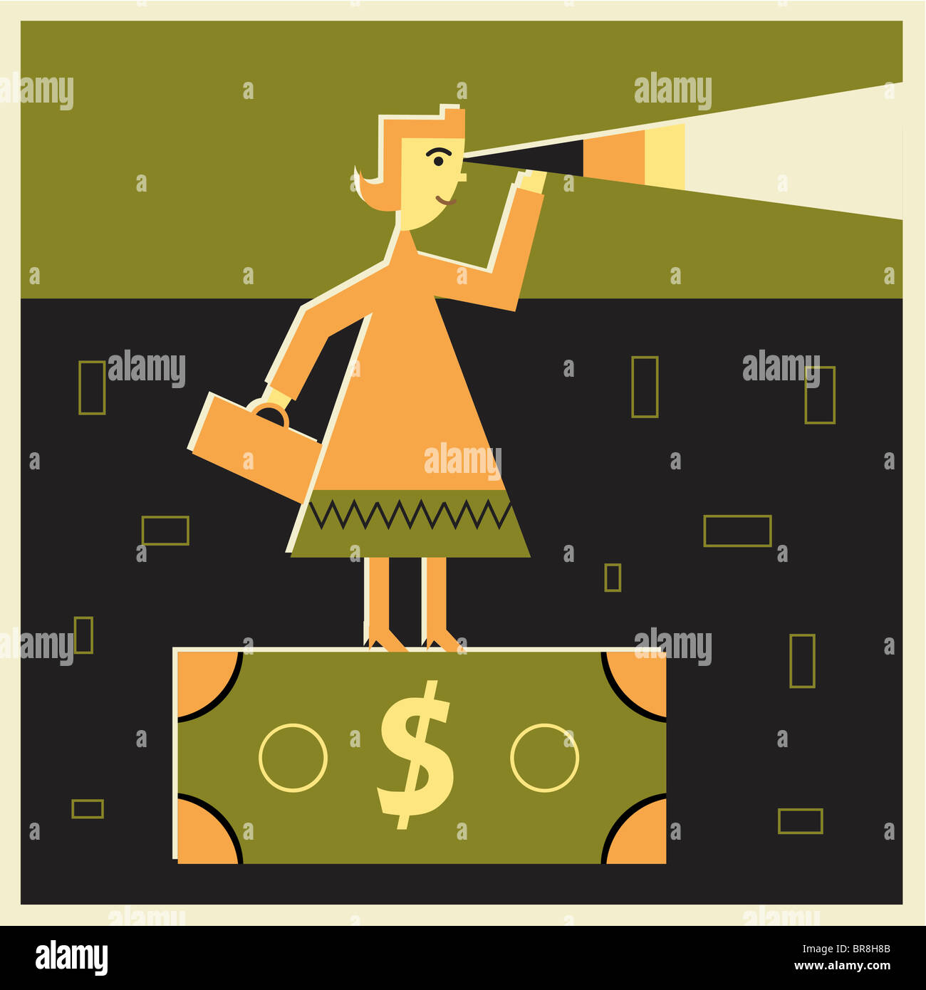 Woman on a dollar bill looking through a telescope Stock Photo