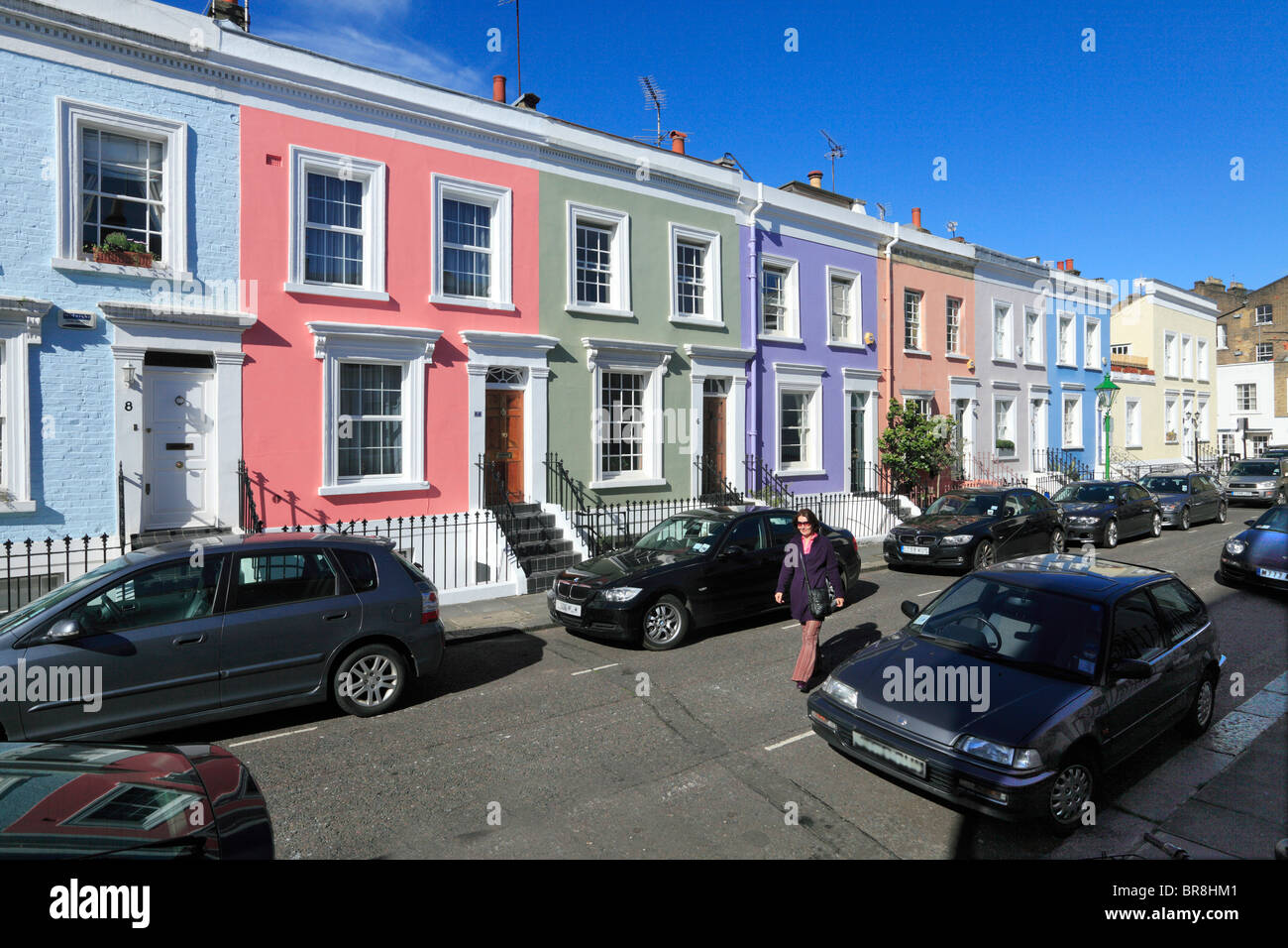 'Hillgate Village' Houses at Notting Hill Gate London - Stock Image